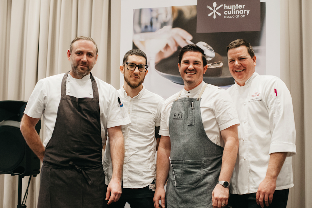 From left to right: Joel Bickford (Aria) Mitch Orr (Acme) Frank Fawkner (EXP Restaurant) Hamish Watt (Crowne Plaza)