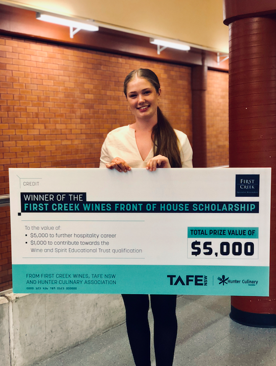 First Creek Wines Front of House Scholarship winner; Abbey Taylor from Margan Restaurant.