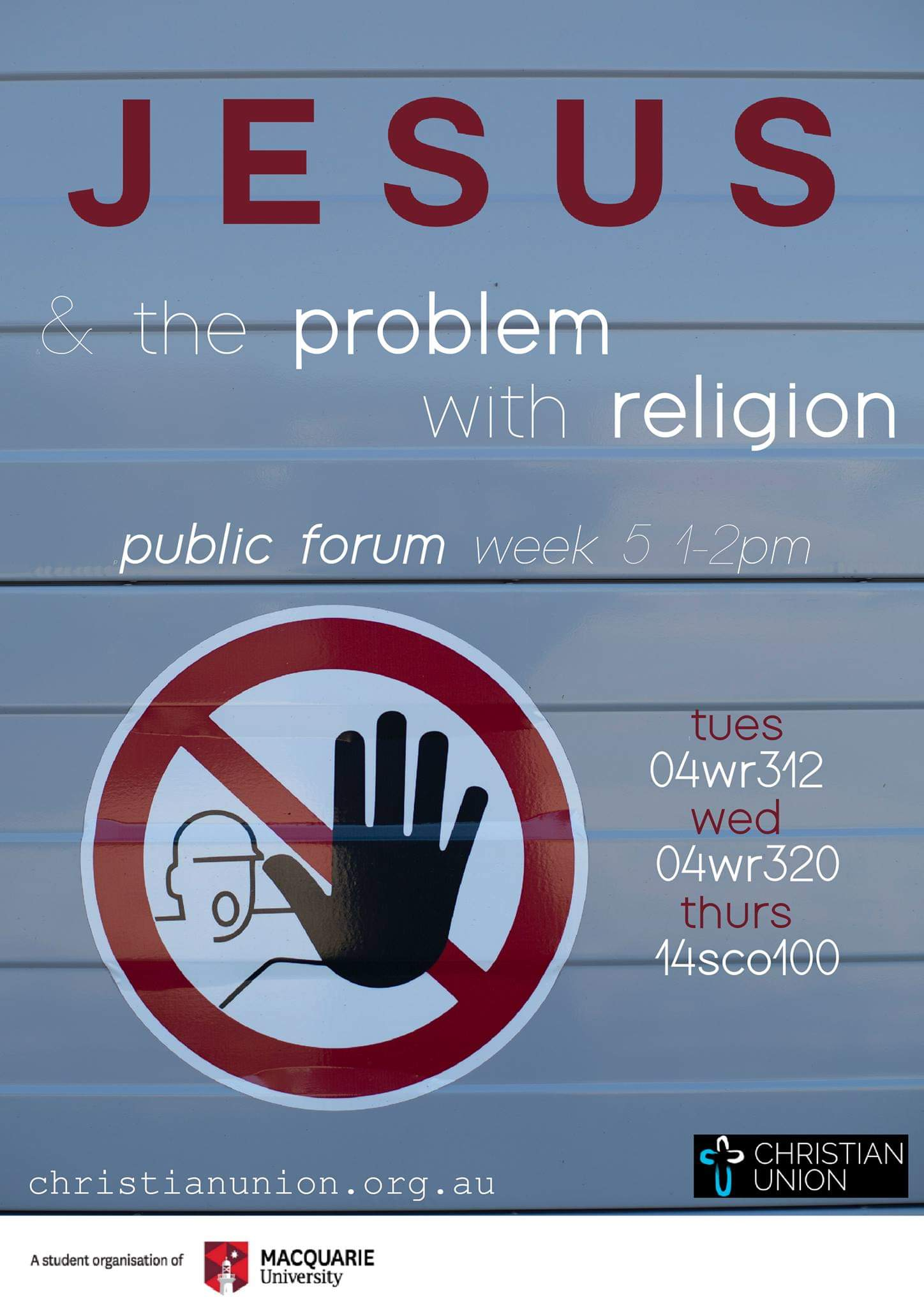 """""""Jesus and the Problem with Religion""""  Christianity is the biggest religion in the world. Jesus wasn't a fan of religion.  Come along to Public Forum this week to discuss the problem with religion, according to the founder of the biggest religion in the world!"""