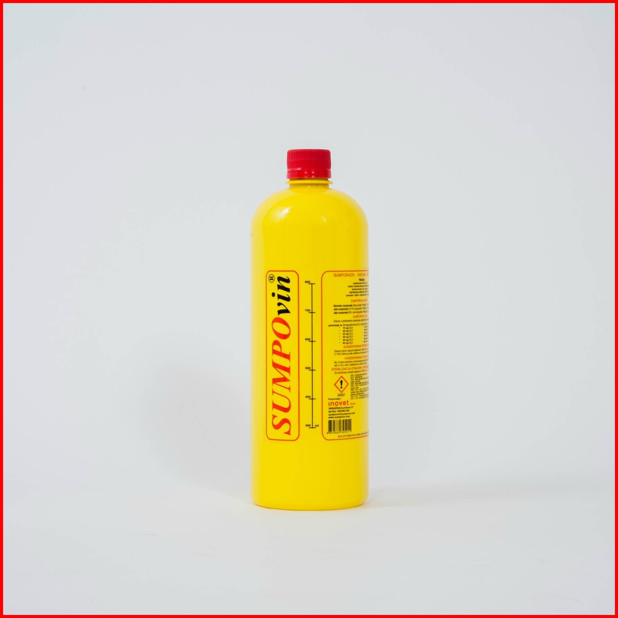 SUMPOvin - Primjena:• Sumporenje mošta i vina• Mokro konzerviranje drvenih i barrique bačava• Konzerviranje voća i povrća• Sterilizacija staklenki, INOX i PVC posuda i cijevi u          domaćinstvu i industrijiPrednosti pred ostalim sredstvima iste namjene:•  Jednostavna primjena i precizno doziranje• Ne mijenja organoleptička svojstva vina (okus, boja, miris)•  Ne mijenja miris bačve• Nije opasan za zdravlje ljudi i životinja