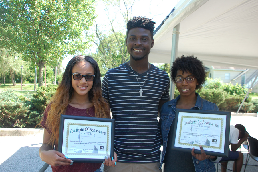 2018 scholarship recipient Al'Yson Harris, 2017 scholarship recipient Jordan Bridges, 2018 scholarship recipient Ashlee Holloway [PHOTOS: COURTESY]