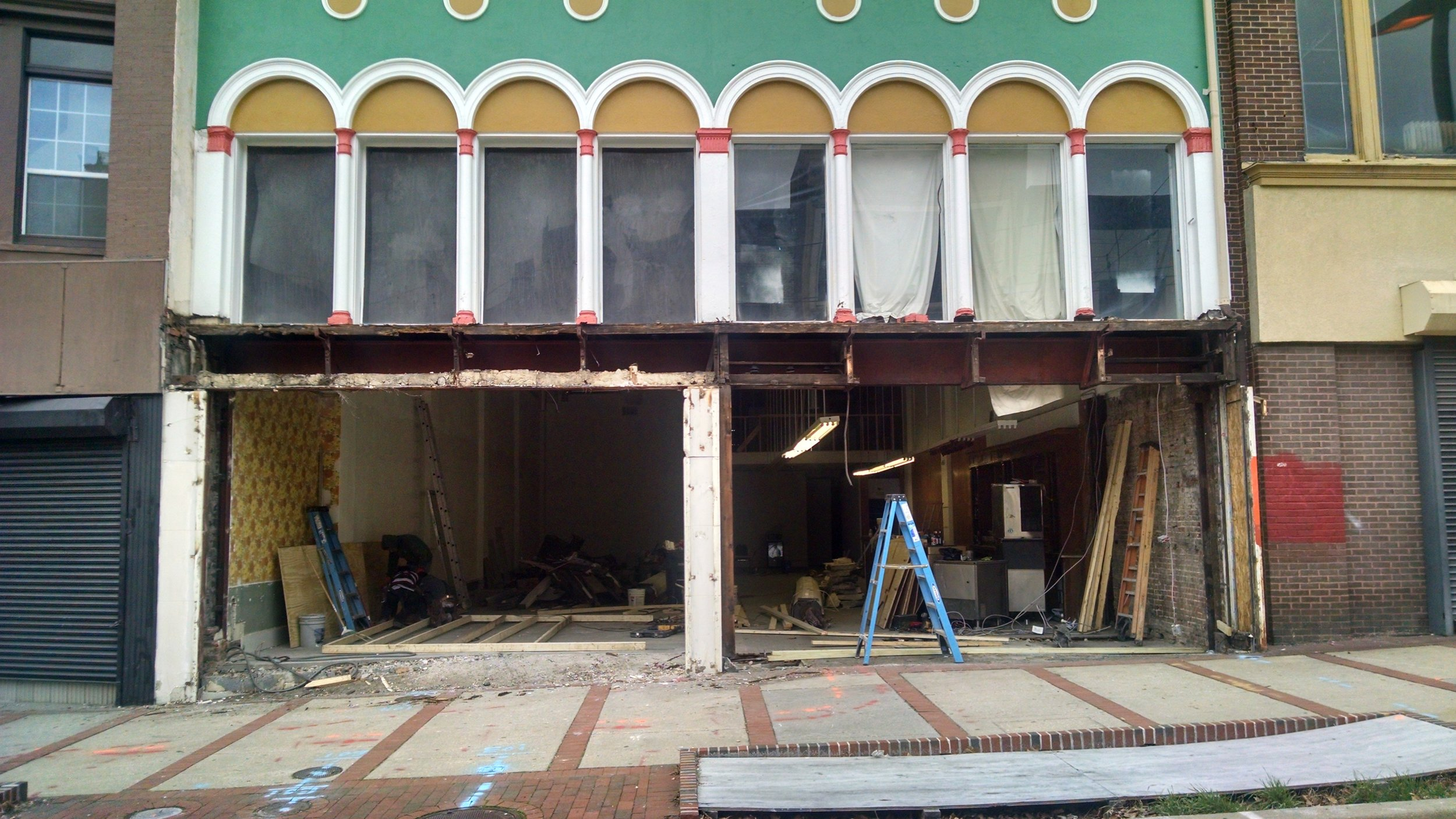 PeekaBoo!  We ripped out the old storefront and are replacing it with a historically appropriate one!