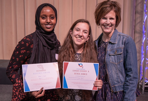 FITNESS GROUP FOR WOMEN IMMIGRANTS - Deika Ahmed and Sarah Khoury withLisa IgelAudience Award Winner!