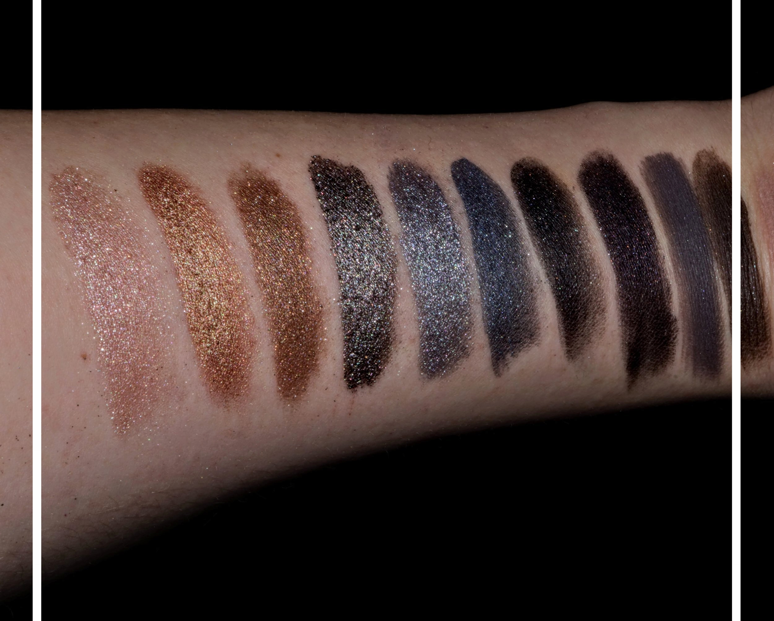 Swatches - TIP: I sprayed some water on my brush, then swiped the shadow. It makes it last longer, prevents fallout, and looks amazing!