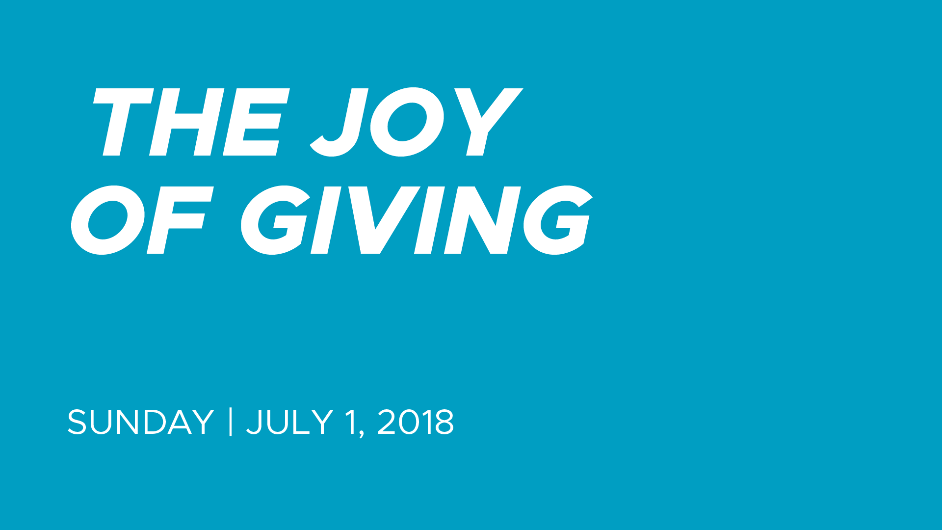 The Joy of Giving — Calvary Apostolic Church Louisville