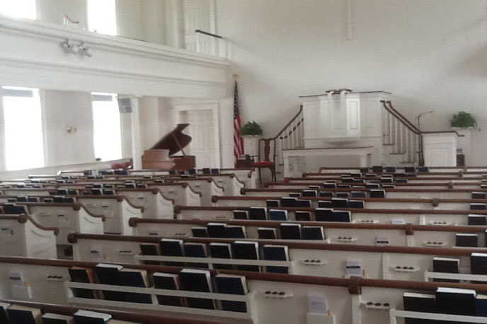 Sanctuary - Established in 1726, WCC is the epitome of a classic New England church. Spacious, airy and bathed in natural light, the sanctuary is ideal for concerts, lectures and seated gatherings of up to 340 people.