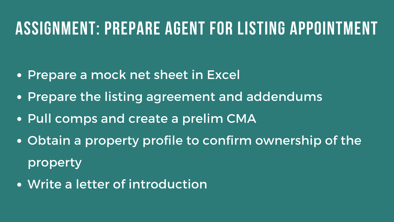 Listing Appointment Skill Test