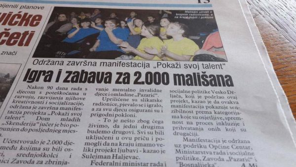 News article of the children who performed for over 2,000 people.