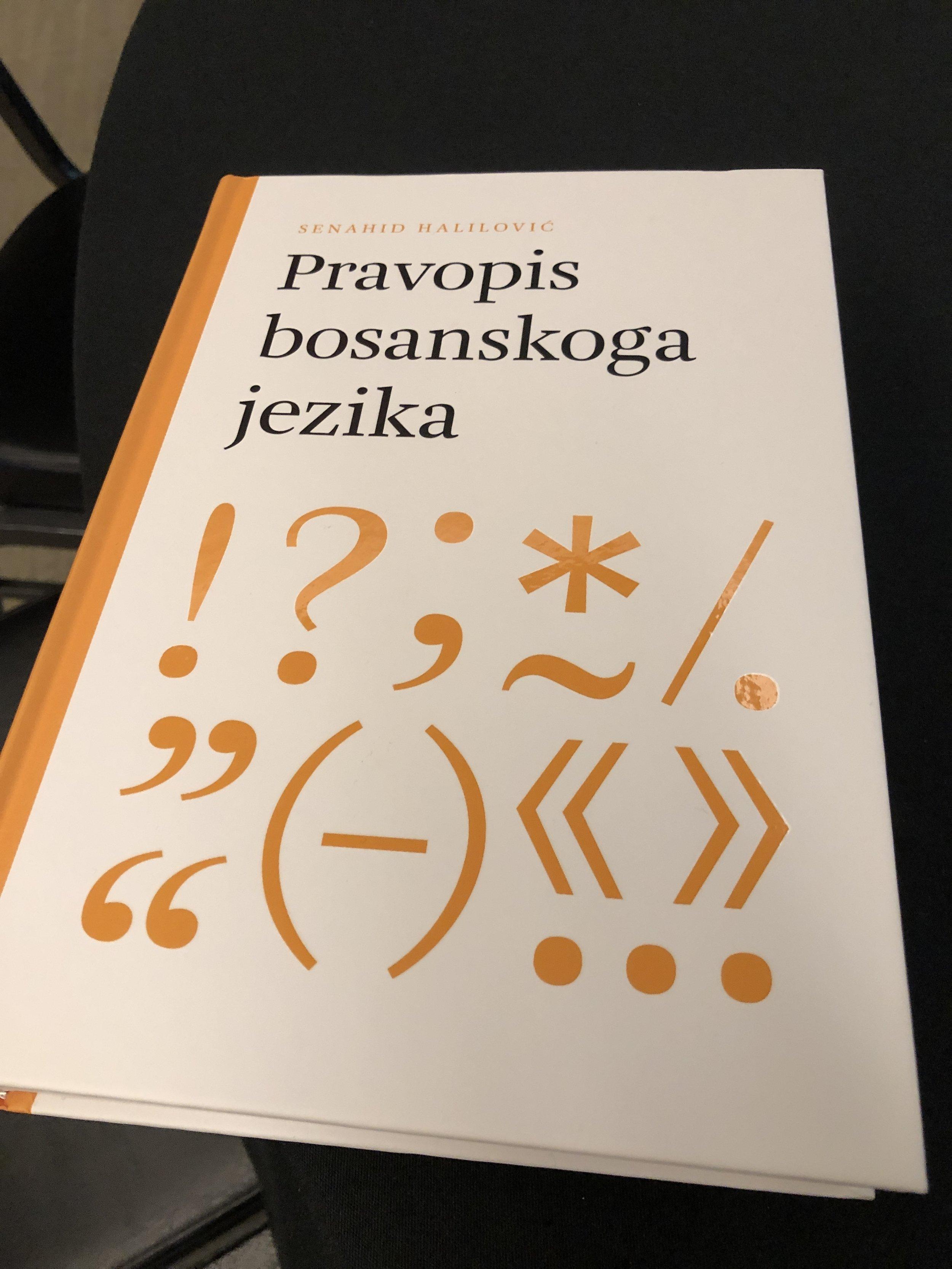 "Senahid Halilovič's book titled ""Pravopis bosanskoga jezika,"" meaning ""Spelling of the Bosnian Language."""