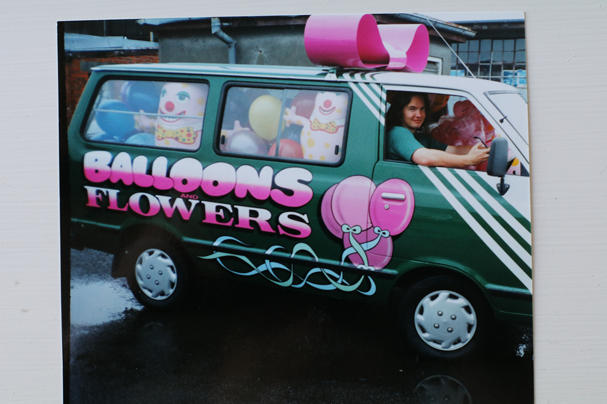 Delivering gifts on Valentine's Day in the mid 1990's.