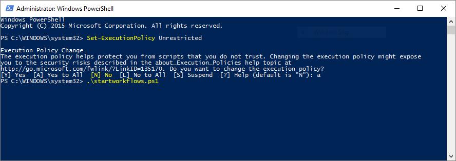 StartWorkflow1 screenshot in  Powershell