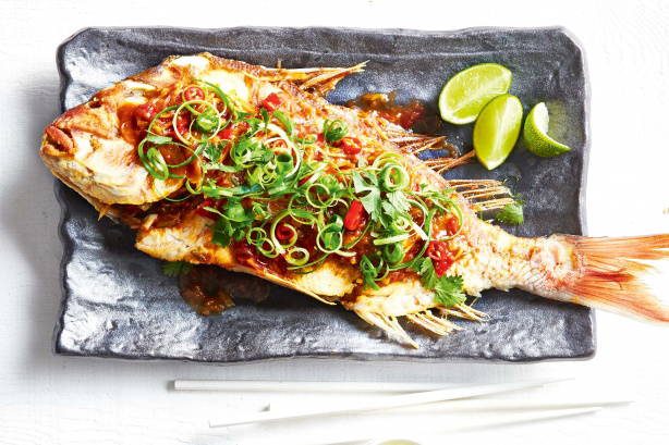WHOLE CRISPY FISH WITH 3 FLAVOUR SAUCE