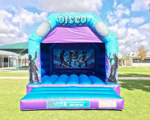 Blue Disco Fever Adult Bouncy Castle Hire Baldivis