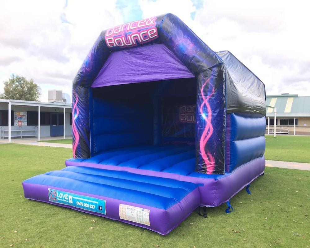 Blue Dance and Bouncy Adult Bouncy Castle Hire Rockingham