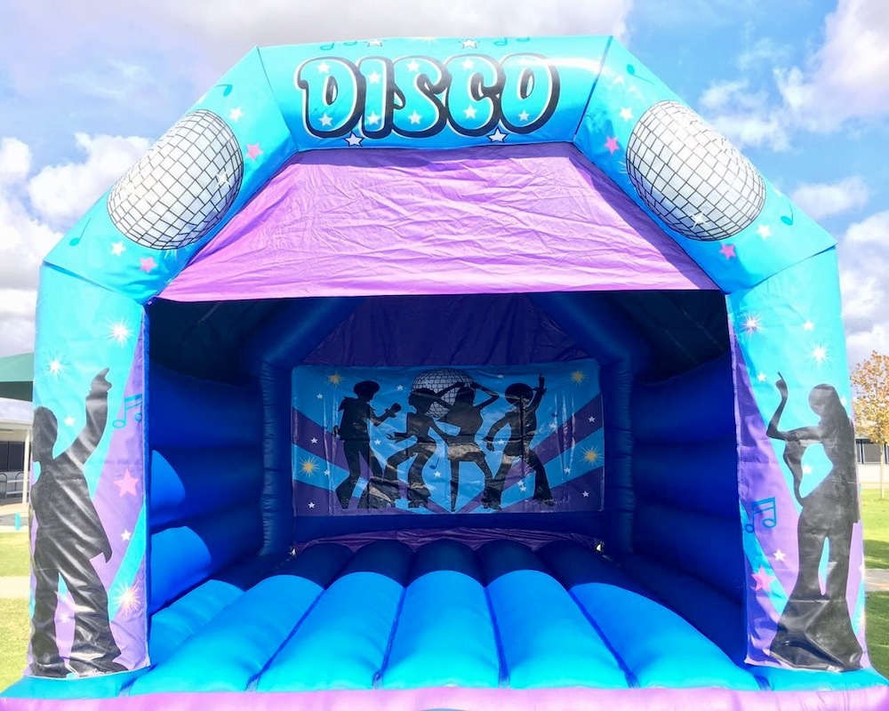 Blue Disco Fever Adult Bouncy Castle Hire Mandurah