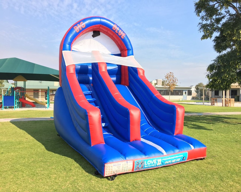Big Blue bouncy castle super slide hire 2