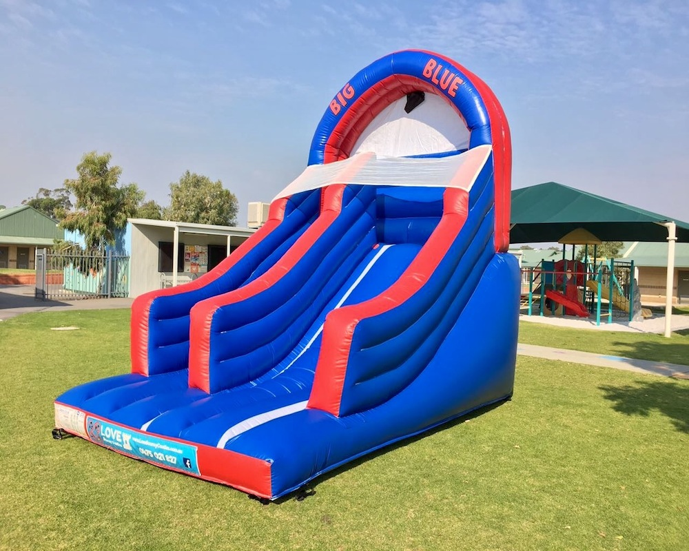 Big Blue bouncy castle super slide hire 3