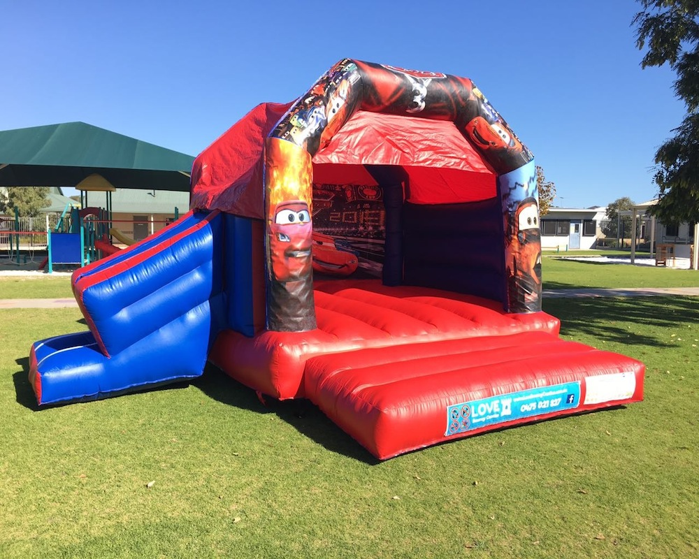 Cars bouncy castle hire with slide Rockingham
