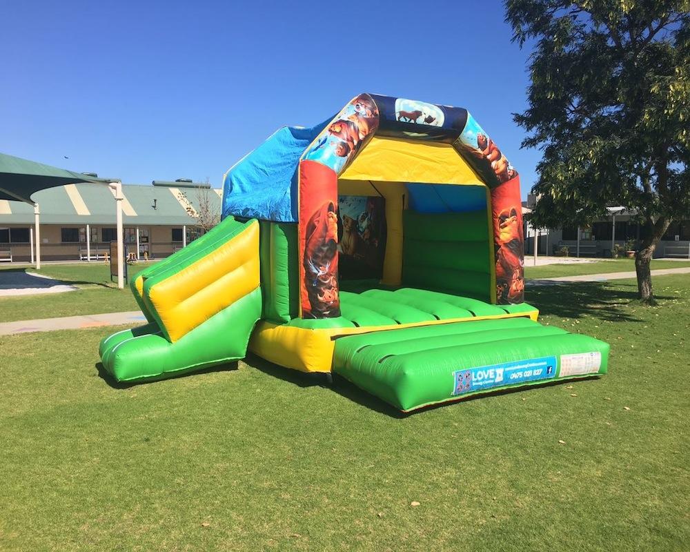 Lion King bouncy castle hire with slide Rockingham