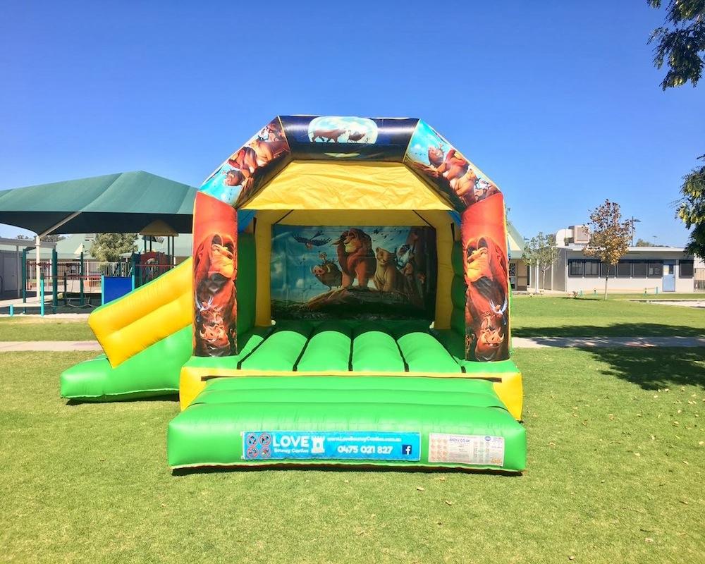 Lion King bouncy castle hire with slide Mandurah