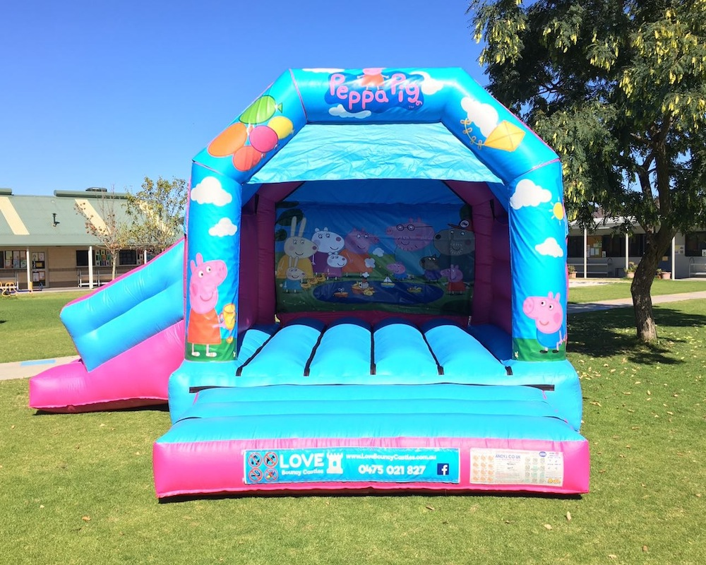 Peppa Pig bouncy castle hire with slide Baldivis