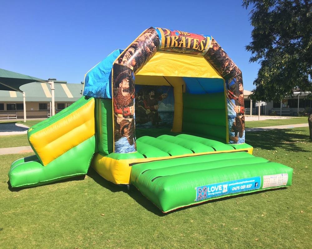 Pirates bouncy castle hire with slide Rockingham