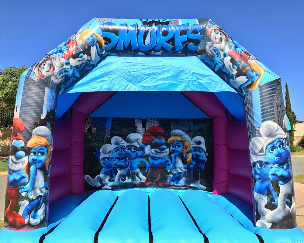 Smurfs bouncy castle hire with slide Mandurah