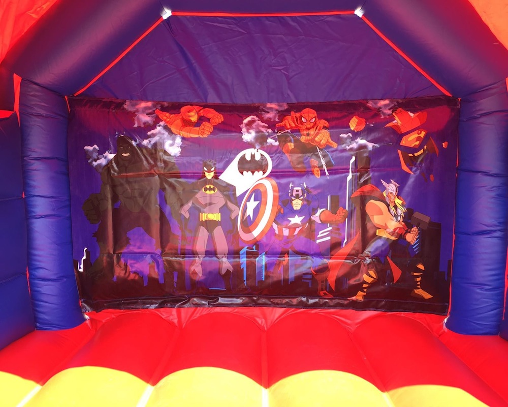 Super heros bouncy castle hire with slide Mandurah
