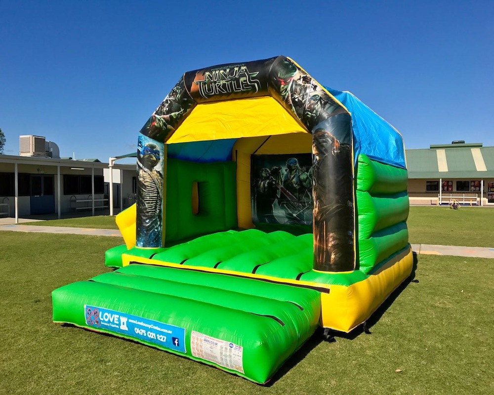 Teenage Mutant Ninja Turtles bouncy castle hire with slide Rockingham