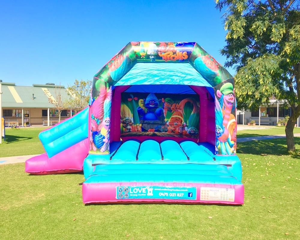 Trolls bouncy castle hire with slide Baldivis