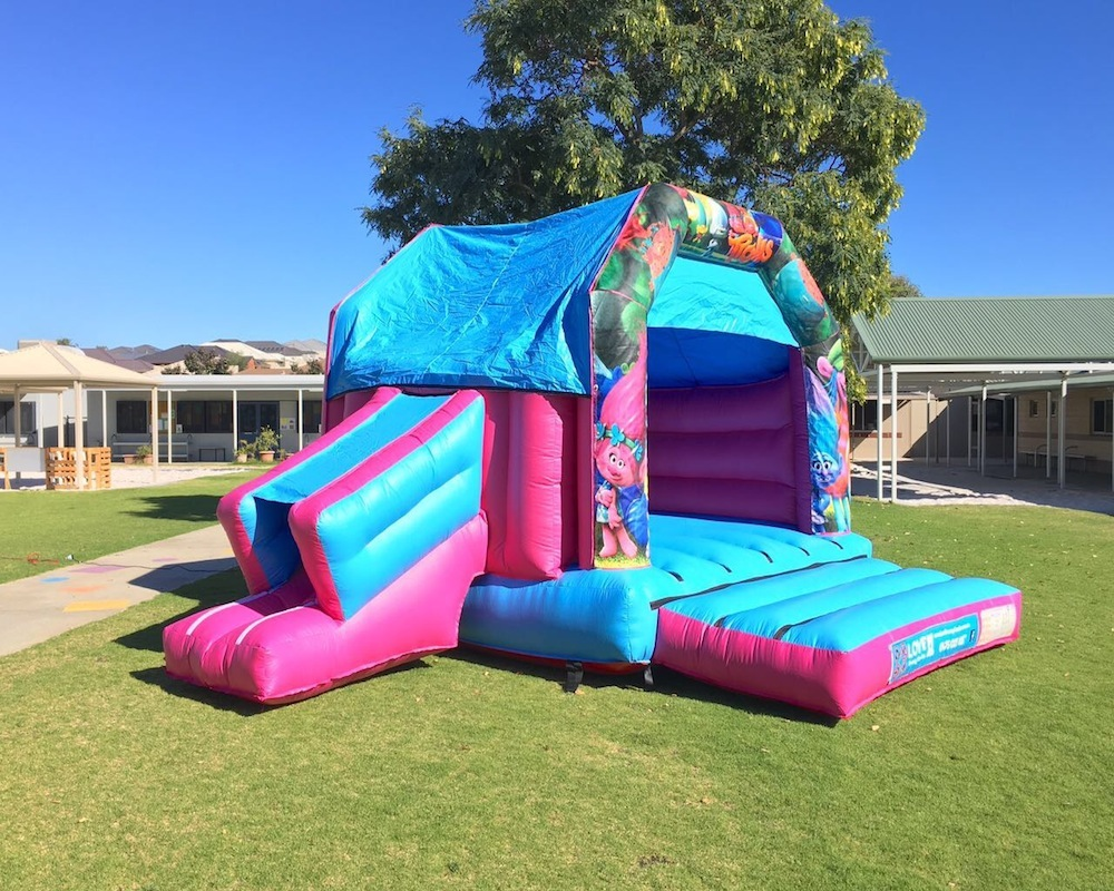 Trolls bouncy castle hire with slide Rockingham
