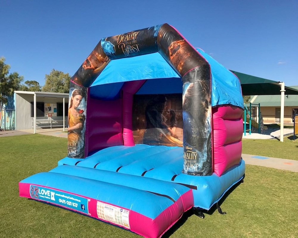 Beauty and the beast bouncy castle hire with slide Rockingham