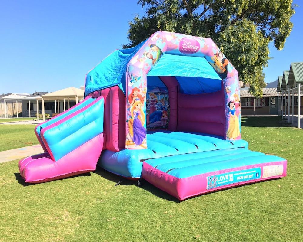 Princess bouncy castle hire with slide Rockingham