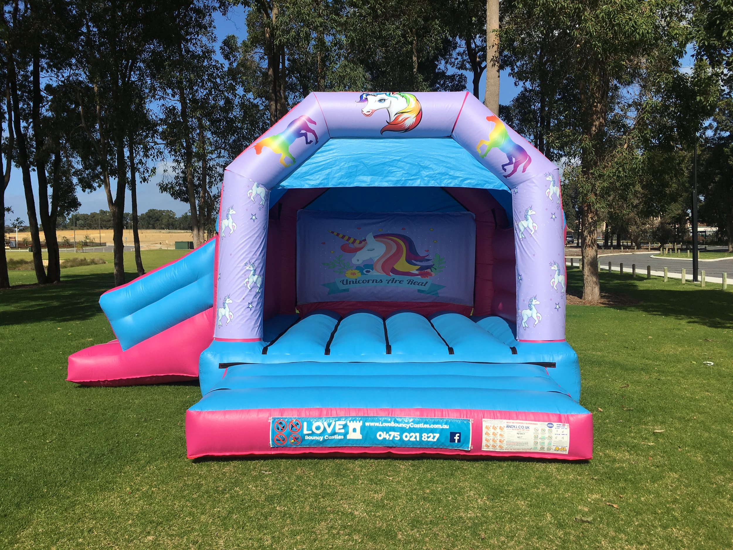 Unicorn Combo Bouncy Castle Hire with slide Baldivis
