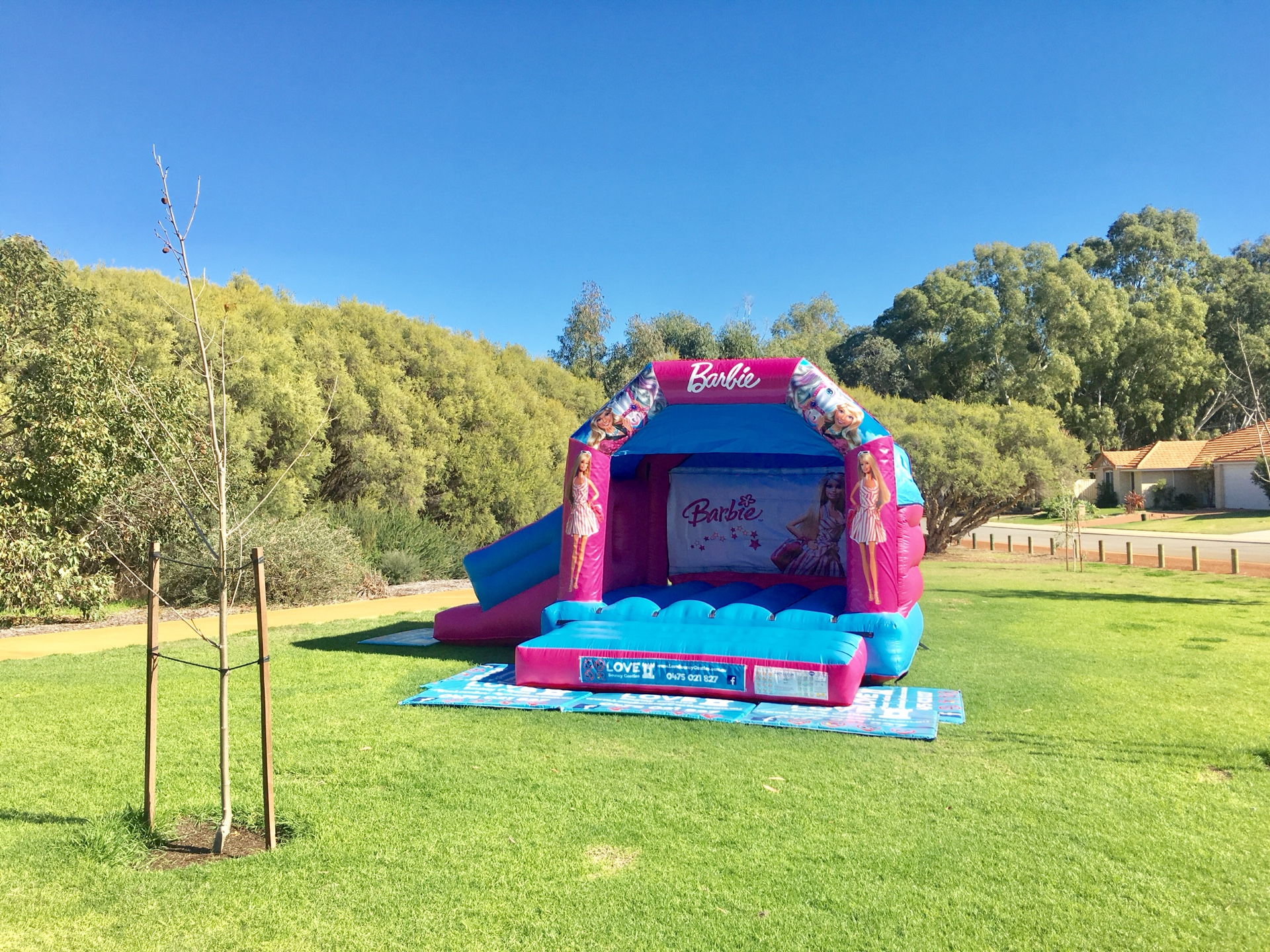 Copy of Barbie Combo Bouncy Castle Set Up In A Park In Perth, WA