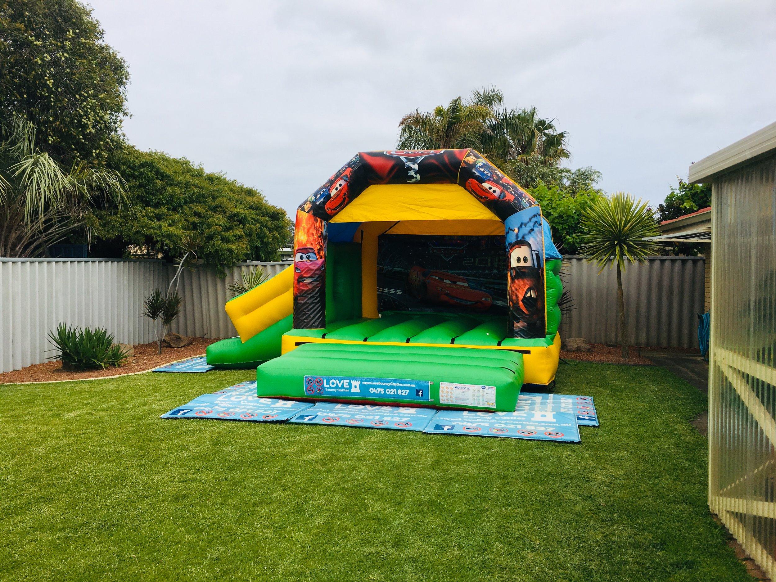 Cars Bouncy Castle With Slide Set Up In Mandurah, 6210