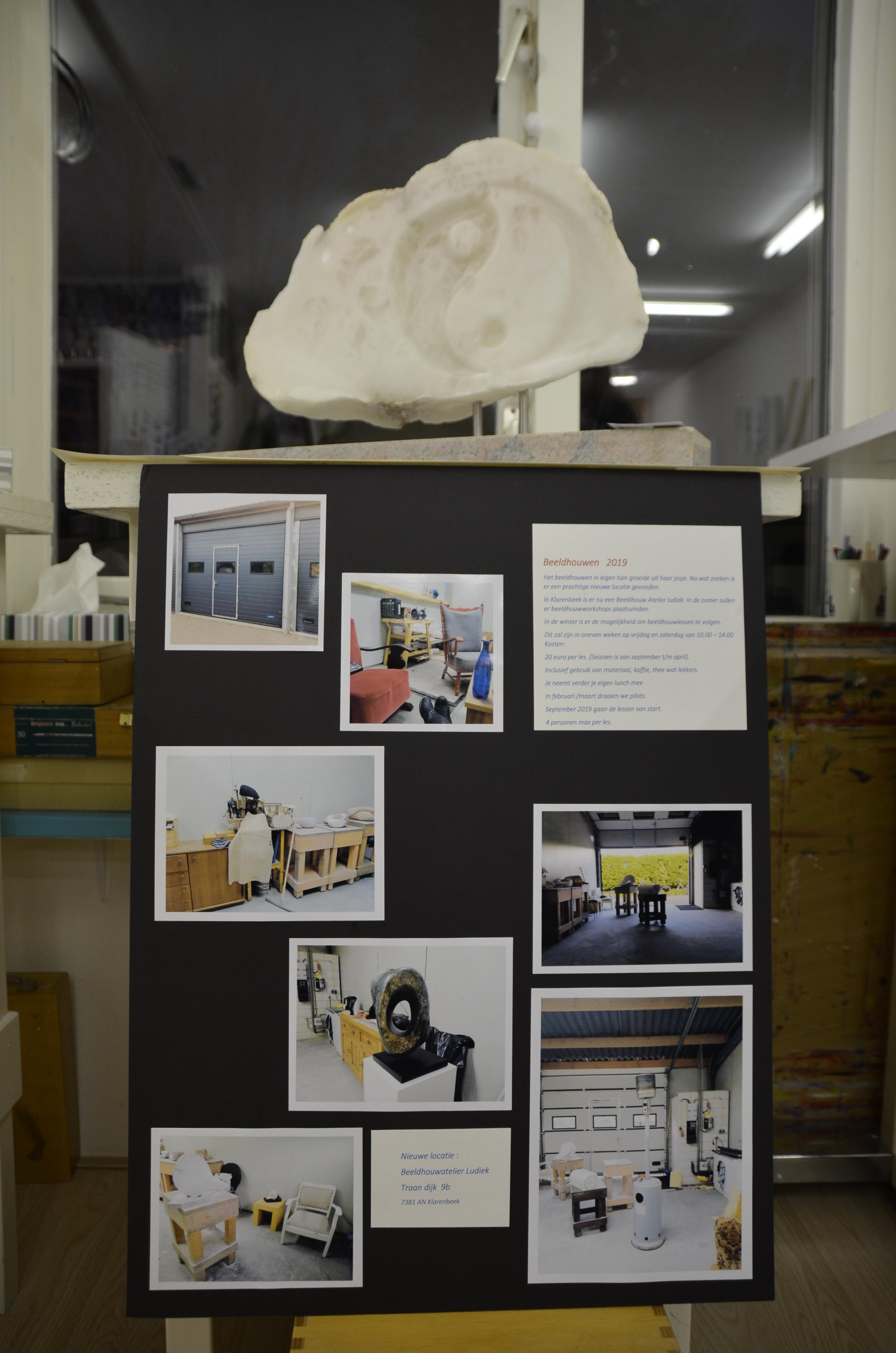 Informatie nieuw beeldhouw atelier. Albast van Nicole.