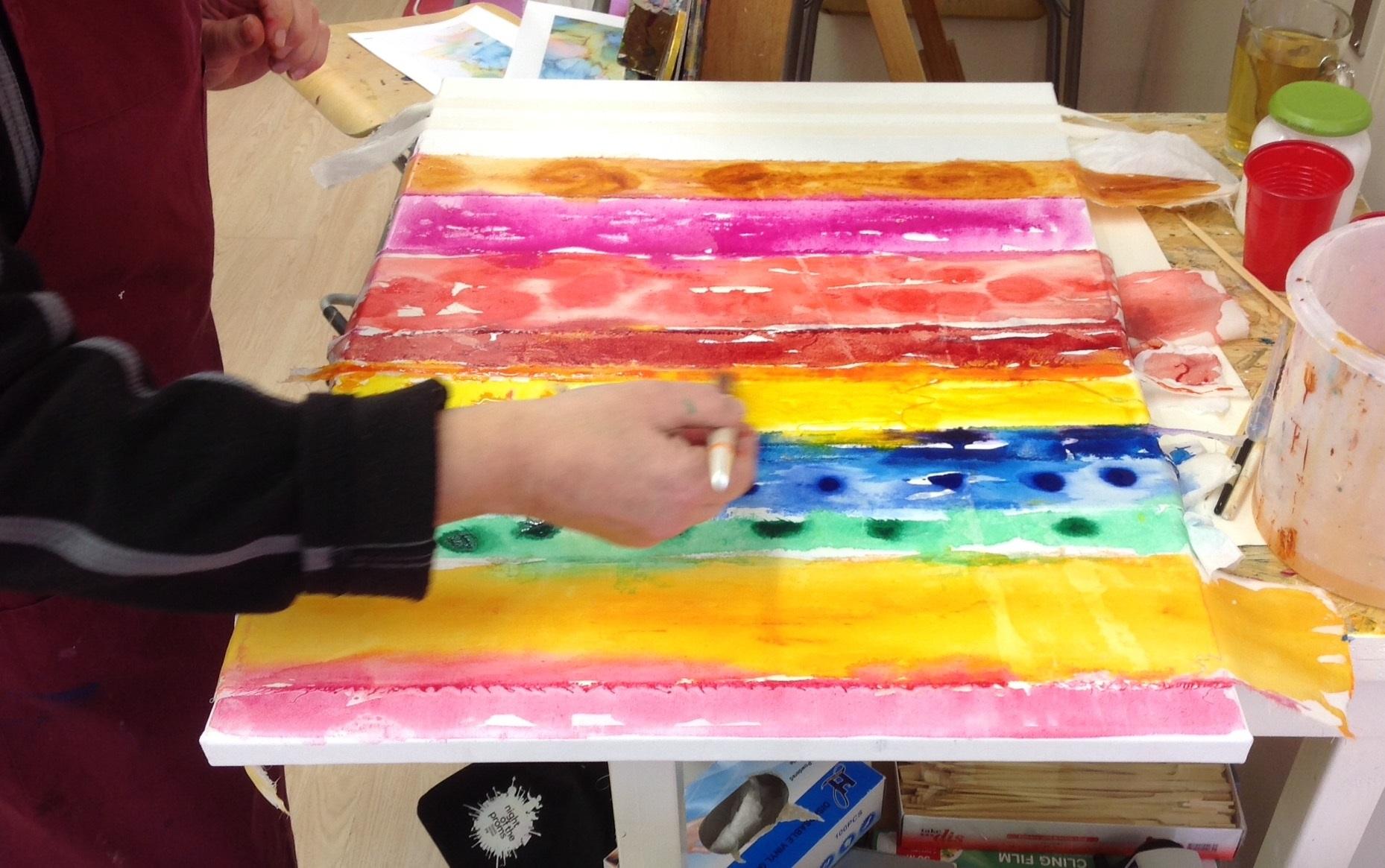 Experimenteel schilderen.