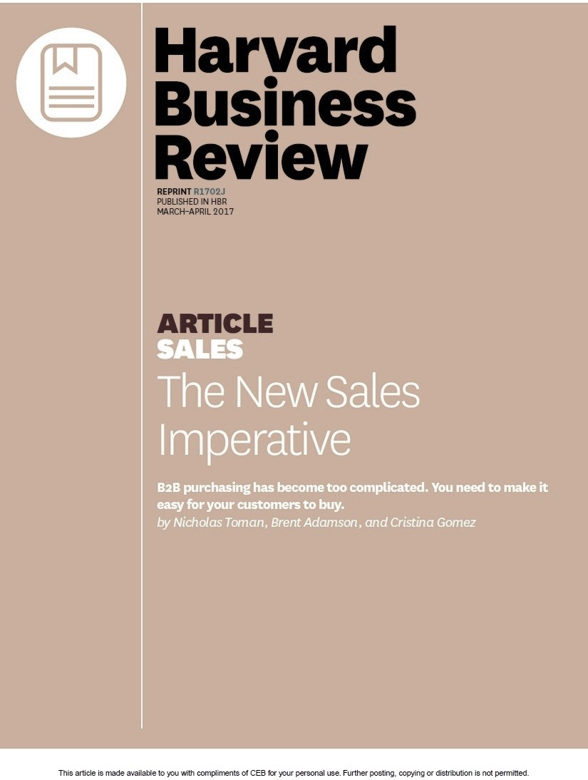 HBR Article the new sales imperative