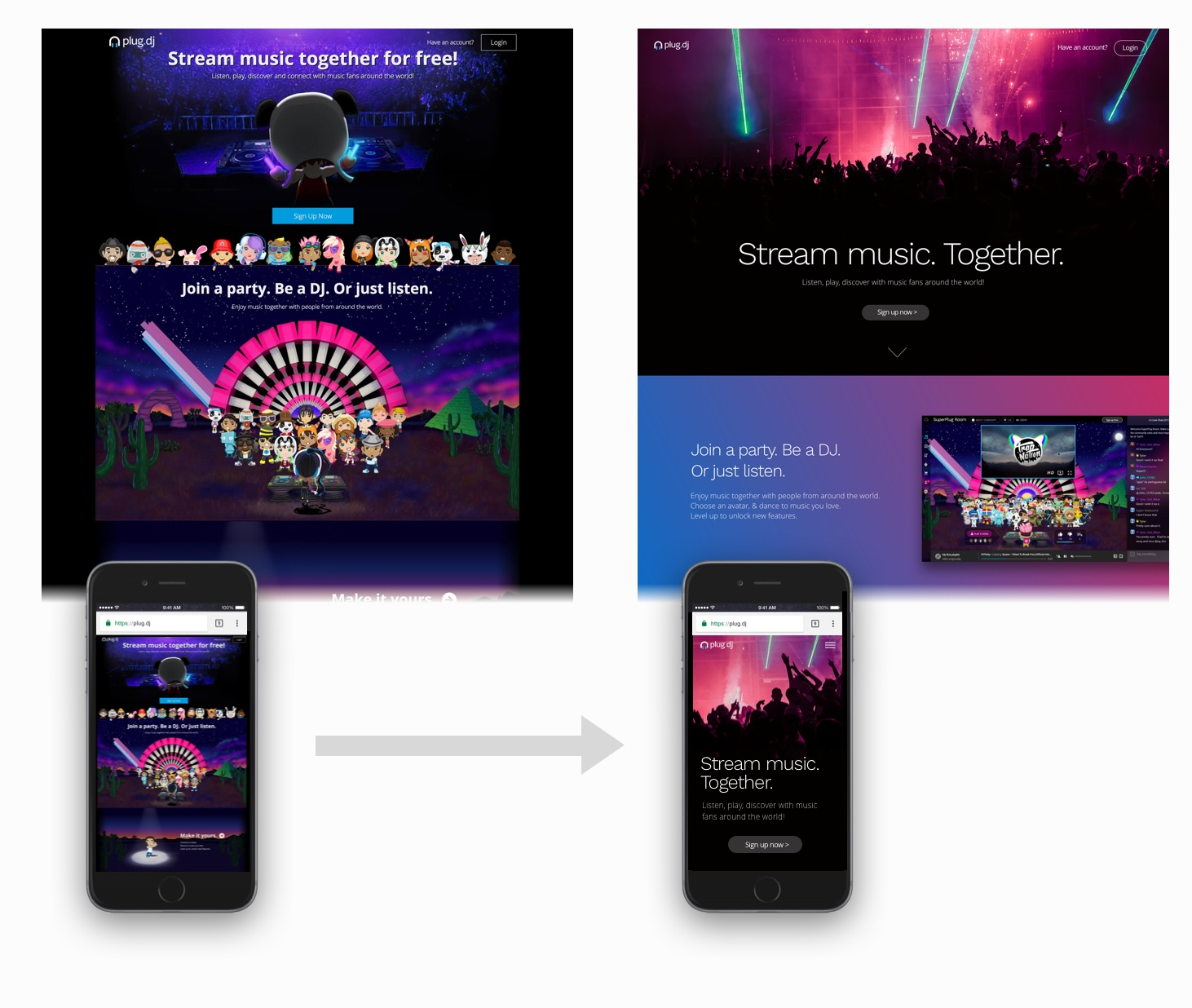 Web   original  (lizquierda) y  Nueva versión  (derecha)