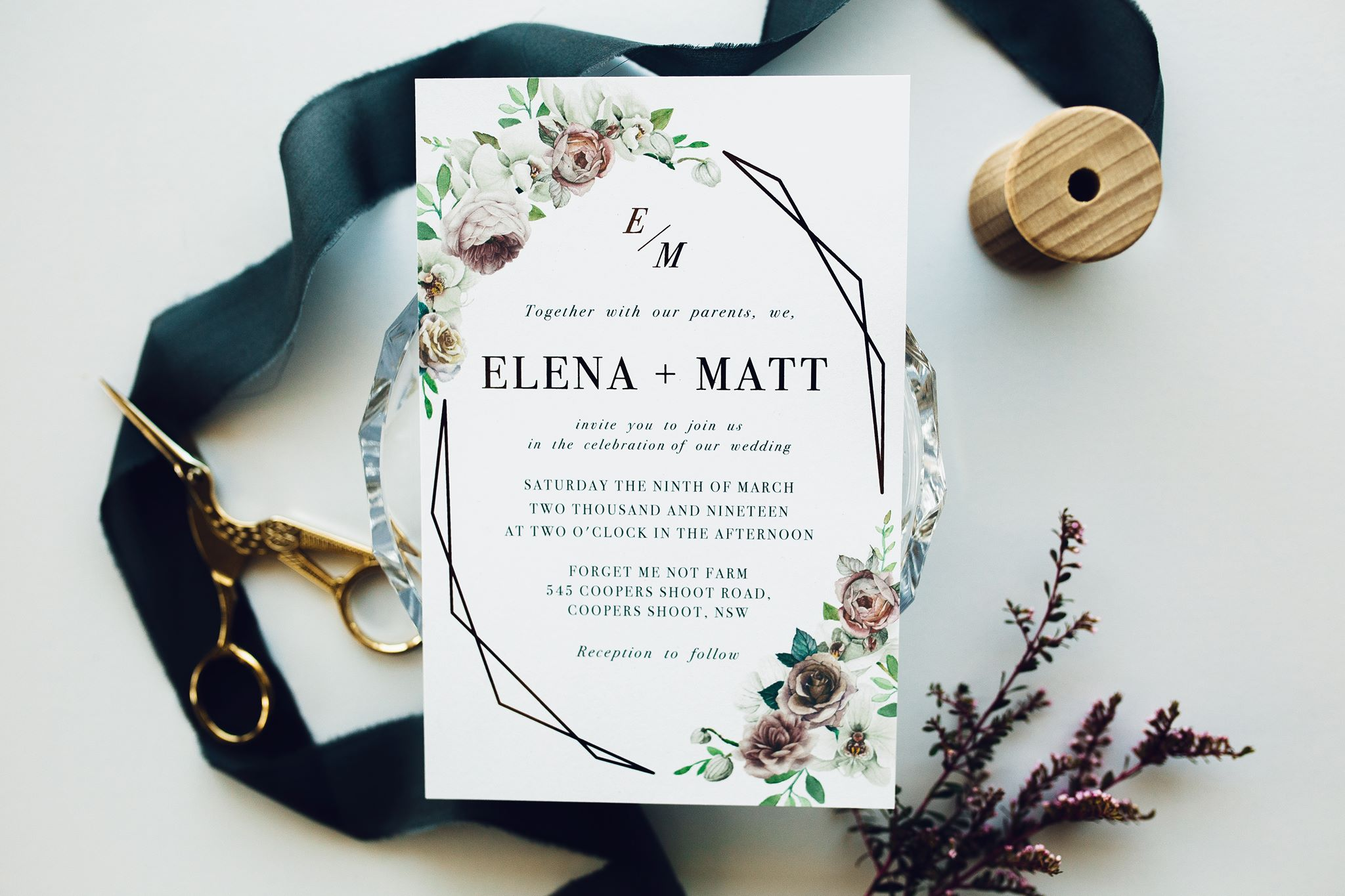 ficus and fig design rose gold foil geometric wedding invitation