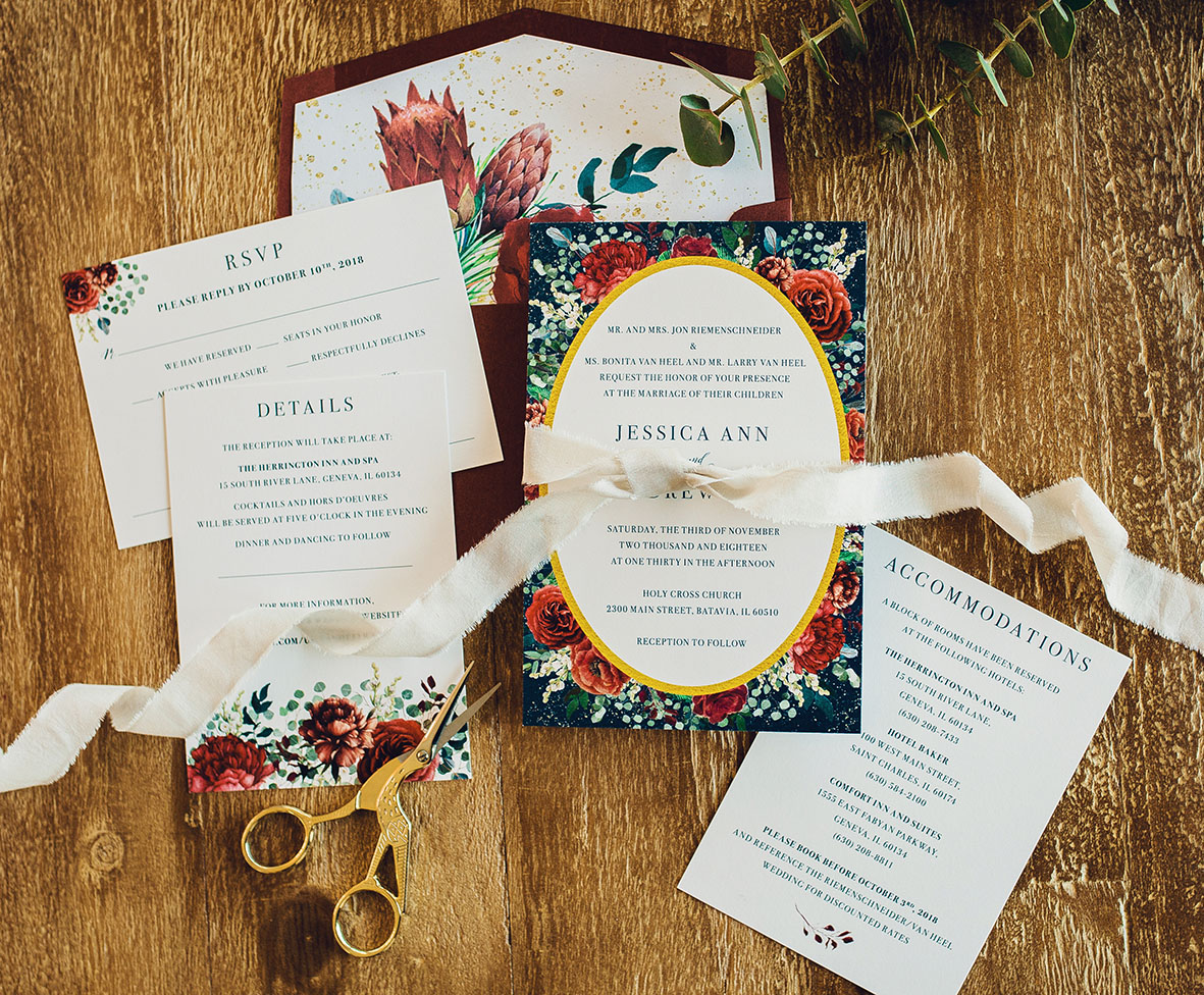 Australian natives, proteas, gold foil, burgundy and gold, burgundy and navy wedding invitation suite