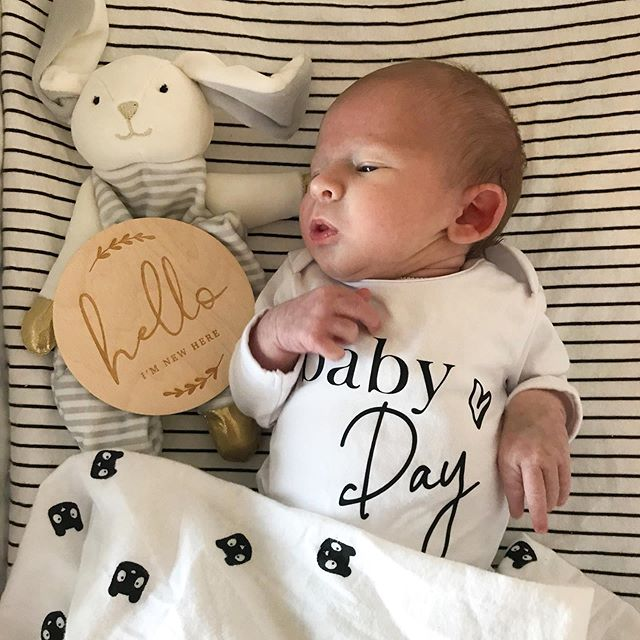In case you missed our story recently, here's some big news for you! 💙 We welcomed Ethan Christopher into our family on July 4th, 2019 and we are pretty smitten! 😍 We are grateful to be home, in our little bubble, all happy and healthy 🙌 ⠀⠀⠀⠀⠀⠀⠀⠀⠀ Wooden plaque by @producedbygosh Custom onesie by @eddie_and_bear ⠀⠀⠀⠀⠀⠀⠀⠀⠀ #ficusandfig #babyday #newborn #newbornannouncement #helloimnewhere #mumlife #welcometotheworld #newbornboy #itsaboy #maternityleave
