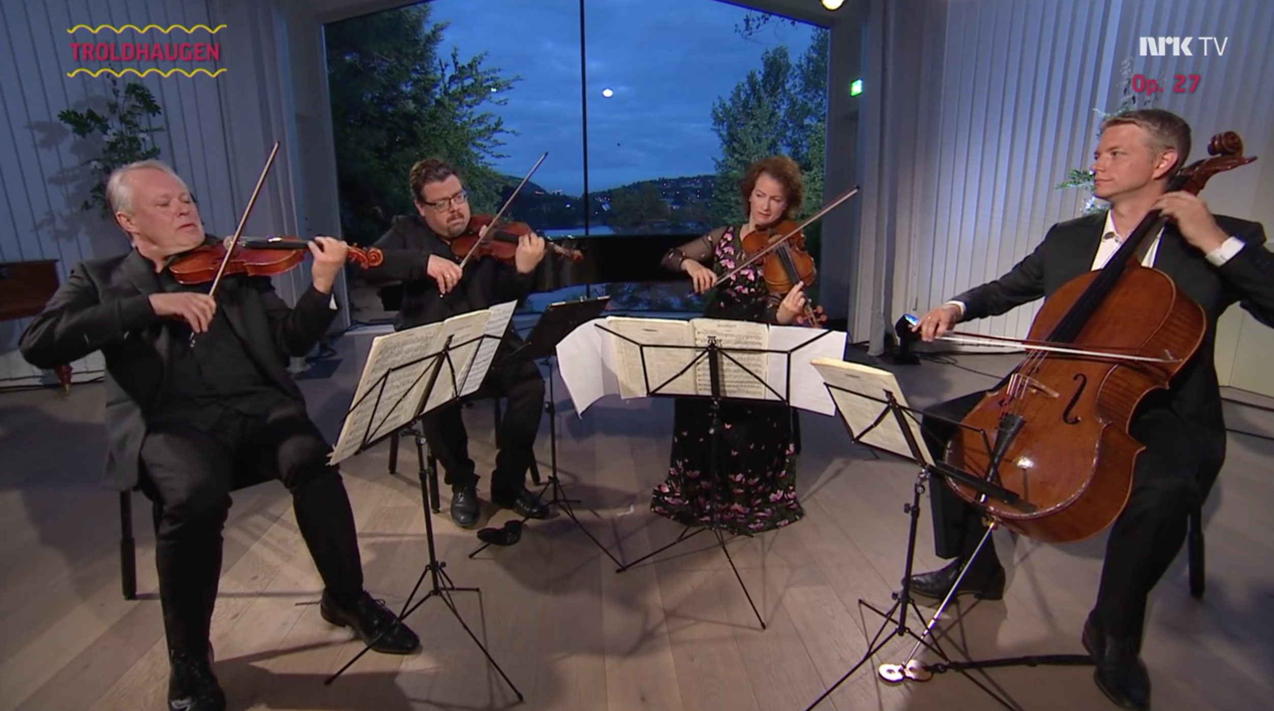 Click  to watch NRKs live recording of the Engegård Quartet performing Grieg´s string quartet op.27 at Troldhaugen, Bergen.  This recording was part of NRK's 'Grieg Minute by Minute', in which the complete works of Grieg were performed back to back in June 2018.