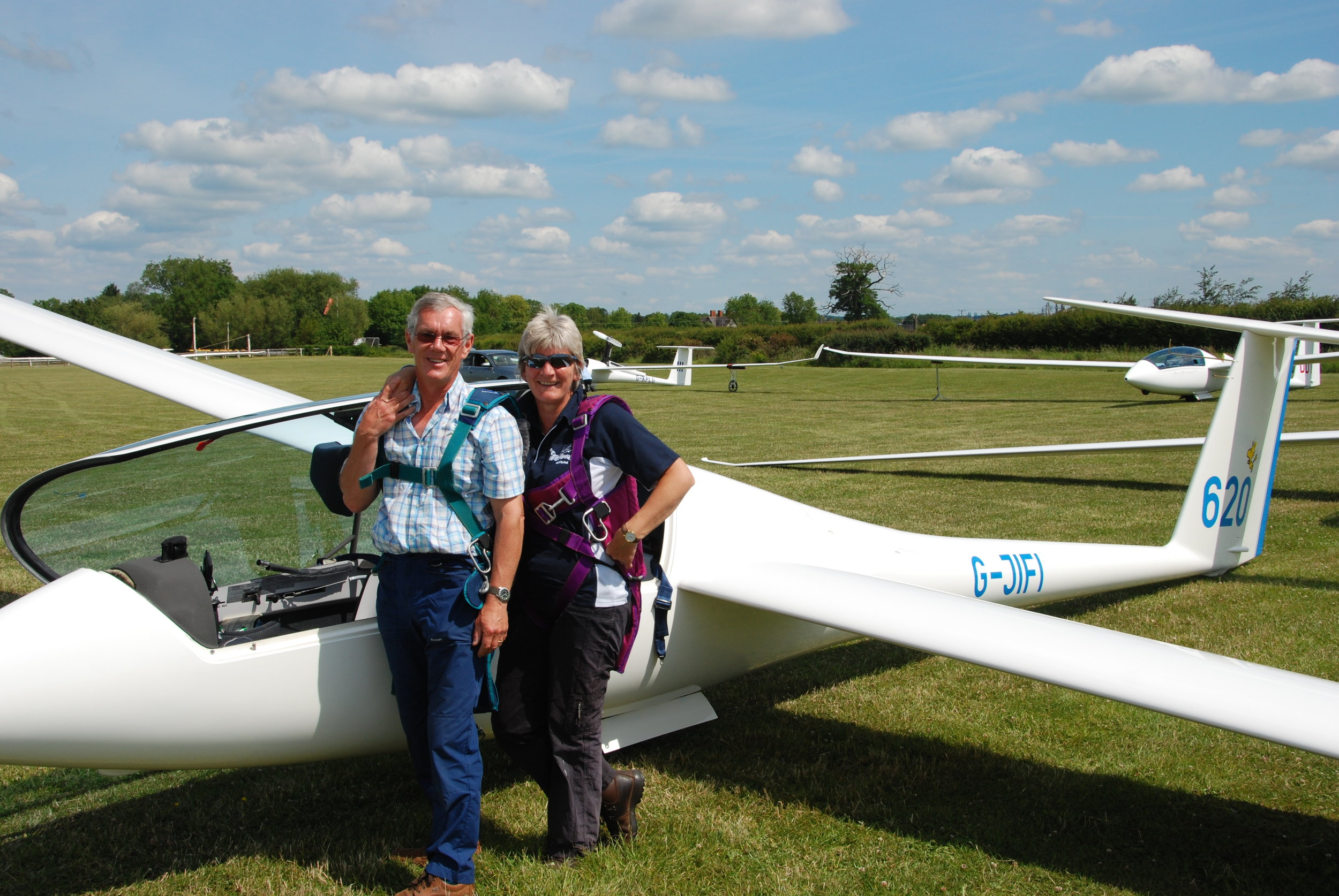 David and Sandy - When we entered a competition at Bidford on Avon we flew together in the duo and boiled in the hot weather.