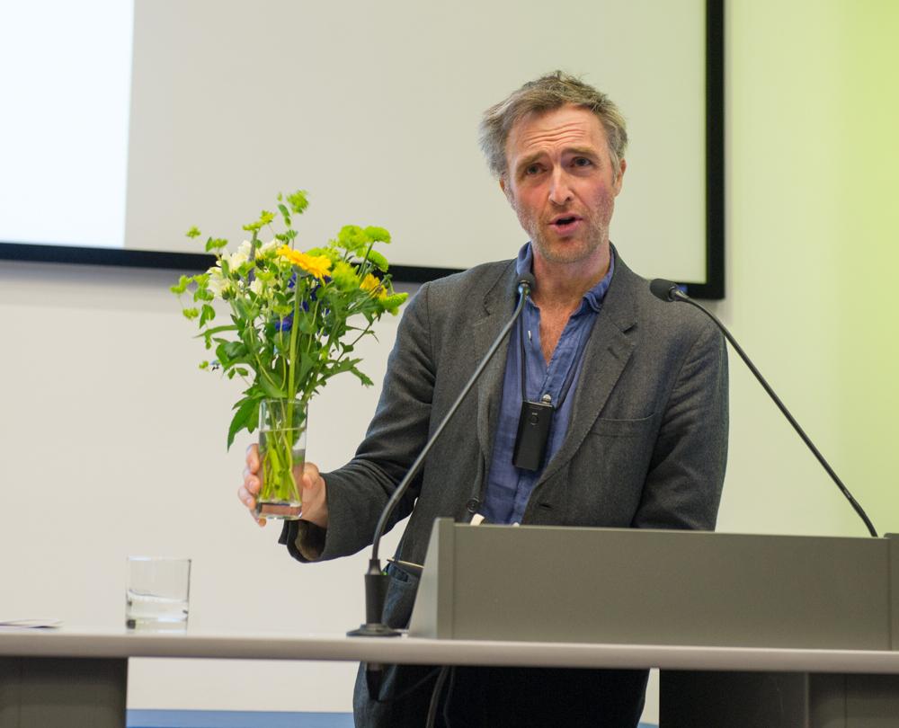 William Fiennes uses a floral prop © Cheryl-Samantha Owen