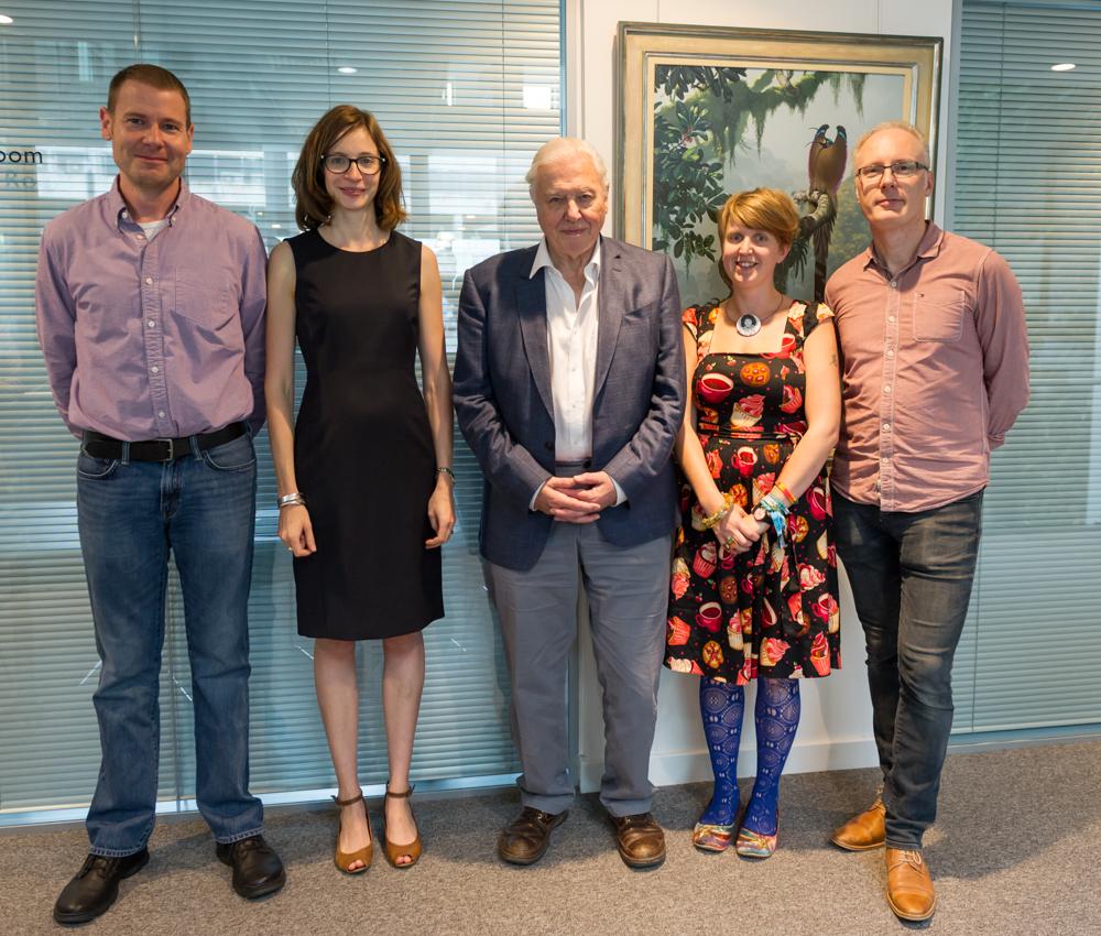 Sir David Attenborough, and the CCI NNN Planning Group (L to R) Matt Howard, Elizabeth Allen, Shelley Bolderson, Mike Toms © Cheryl-Samantha Owen