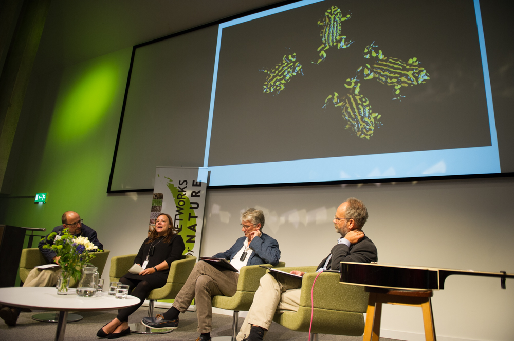 A Panel on Hope, Andrew Balmford, Michelle Cooper, Bruce Pearson, and chair, Mike Rands © Cheryl-Samantha Owen