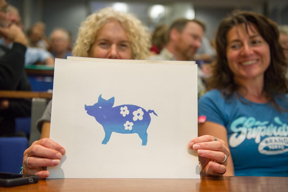 A happy floral blue pig, made in the Printing Workshop © Cheryl-Samantha Owen