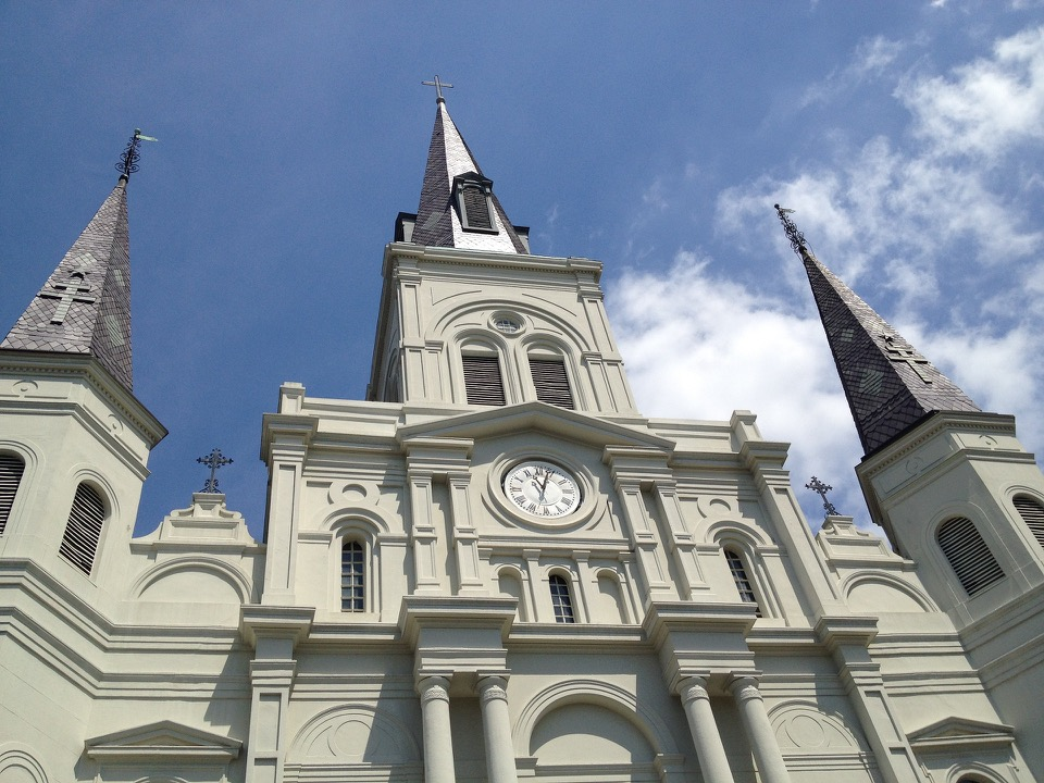 Left to Right: St. Louis Cathedral, Live Street Performers in New Orleans